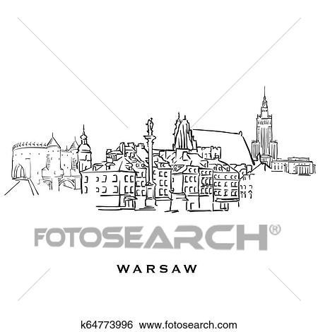 Warsaw Poland famous architecture Clip Art