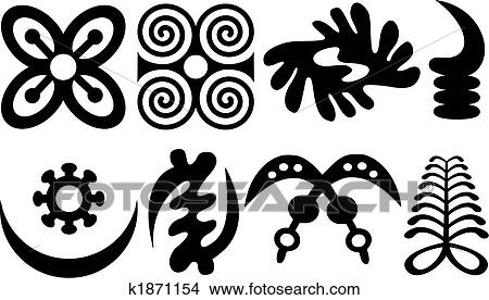 Clipart Of A Set Of Akan And Adinkra West African Symbols K1871154