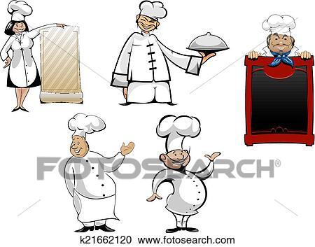 Dessin Animé Chefs Et Cuisiniers Ensemble Clipart