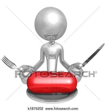 Clip Art Essende Vitamin Oder Diat Pille K1875202 Suche