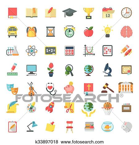 clip art of flat colorful school subjects icons isolated on white
