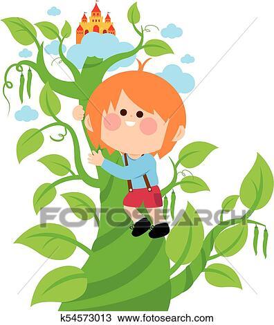 clipart of jack climbing the magic beanstalk k54573013 search rh fotosearch com beanstalk leaf clipart Jack and the Beanstalk Clip Art
