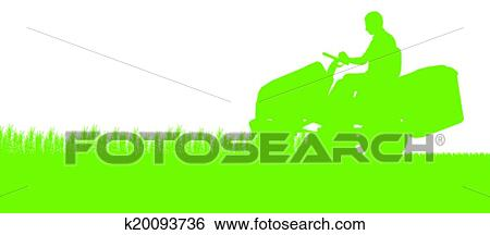 clip art of man with lawn mower tractor cutting grass in
