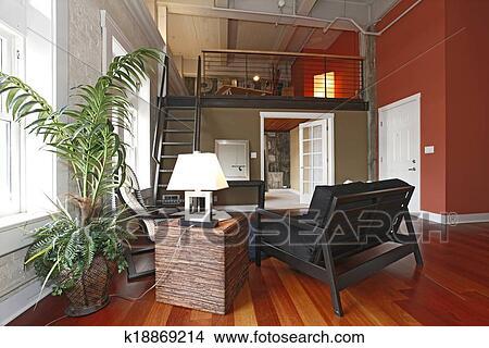 Reconstructed, moderner lebensunterhalt, zimmer, mit, a, mezzanine,  bereiche Bild