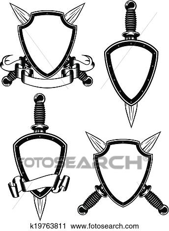 Clipart Of Shield And Daggers K19763811