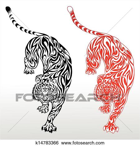Clip Art Of Tiger Tribal Tattoo K14783366 Search Clipart