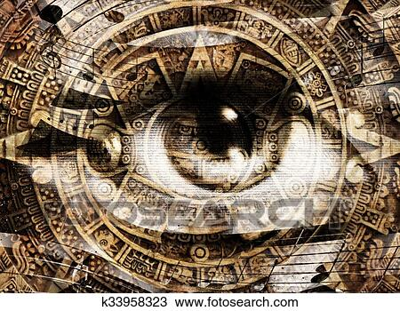 Drawing Of Ancient Mayan Calendar And Woman Eye With Music Note