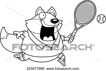 Clip Art Of Cartoon Fox Tennis K23477999