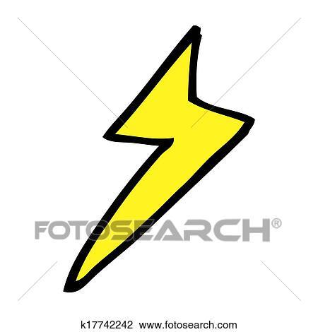 Clip Art Of Cartoon Lightning Bolt Symbol K17742242 Search Clipart
