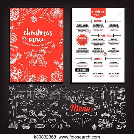 Clip art of christmas party invitation restaurant food flyer christmas party invitation restaurant menu design vector template with graphic stopboris Choice Image