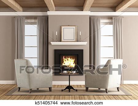 Classico, soggiorno, con, caminetto Immagine