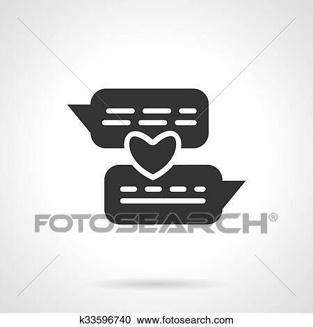 Clipart Of Distance Love Black Vector Icon K33596740 Search Clip