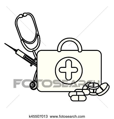 Figure Suitcase Health With Stethoscope Syringe And Treatment
