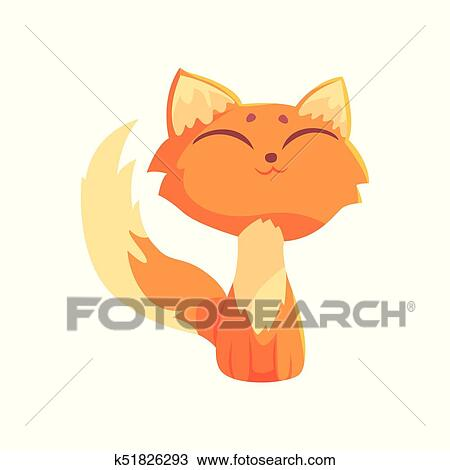 Image of: White Clipart Funny Red Kitten Sitting On The Floor With Closed Eyes Cute Cartoon Animal Fotosearch Clipart Of Funny Red Kitten Sitting On The Floor With Closed Eyes