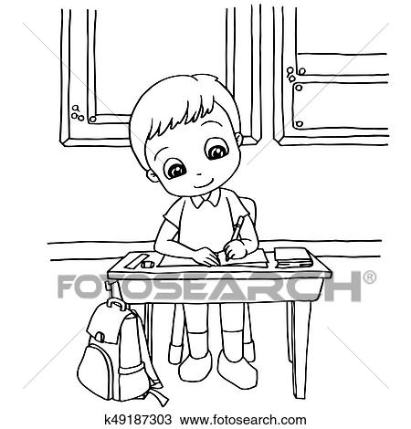 Clipart Of Kids Do Homework In Class Cartoon Coloring Page Vector