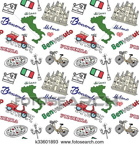 Italy Map Milan.Drawing Of Milan Italy Seamless Pattern With Hand Drawn Sketch
