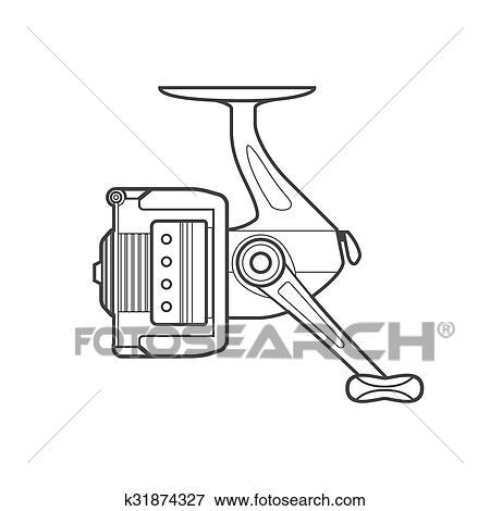 clip art of outline fishing reel illustration k31874327 search