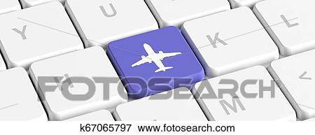 Plane Trip Online Booking Blue Key Button With A Plane Icon On A Computer Keyboard Banner 3d Illustration Stock Illustration K67065797 Fotosearch