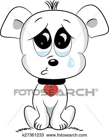 Sad dog  Vector illustration  Drawing