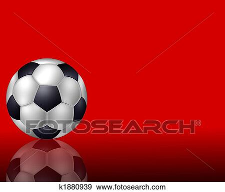 Soccer Ball Background Red Stock Illustration K1880939 Fotosearch