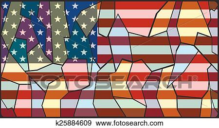 Stained Glass American Flag.U S A Flag Stained Glass Clip Art K25884609 Fotosearch