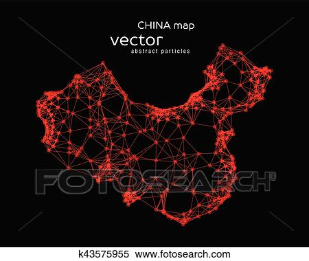 Clipart Of Vector Abstract Illustration Of Chinese Map K43575955