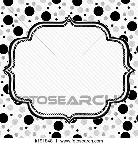 Stock Photography of White, Gray and Black Polka Dots Frame with ...