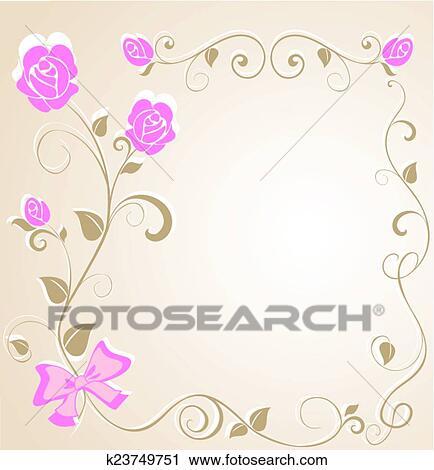 結婚式 花のボーダー クリップアート切り張りイラスト絵画集