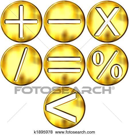 Stock Illustration Of 3d Golden Math Symbols K1895978 Search Eps