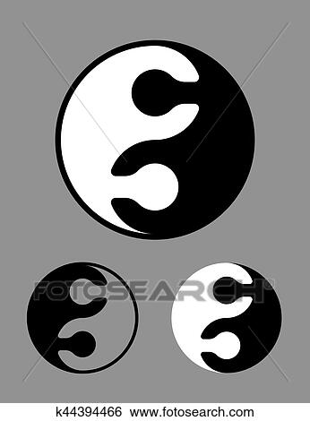 Clip Art Of Black And White Yin Yang Symbol Of Puzzle Pieces