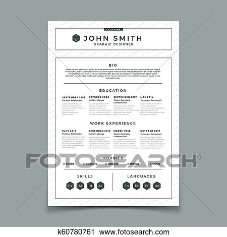 Clipart Of Cv Resume Business Web And Print Design Vector Template