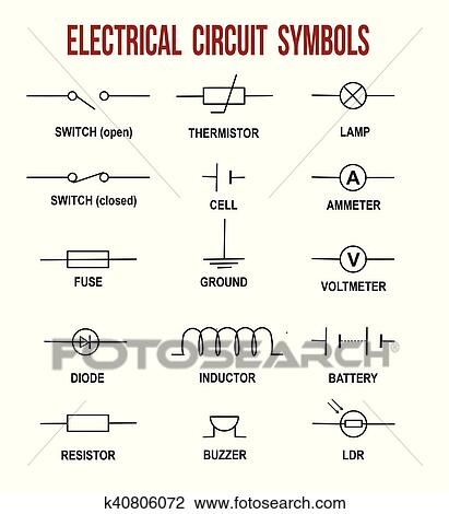 Clipart of Electrical circuit symbols k40806072 - Search Clip Art ...