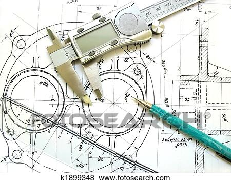 Pictures of Engineering tools on technical drawing