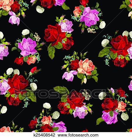Estratto Seamless Ramage Con Bianco Rosa Rosso E Arancia