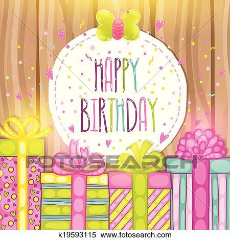 Clipart Gelukkige Verjaardag Kado Cadeaudoos Met Confetti