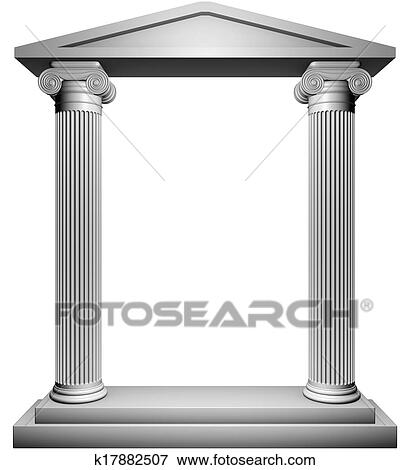 6a09e27293ce Ionic columns frame isolated on white background.