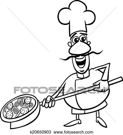 Black And White Cartoon Illustration Of Funny Italian Cook Or Chef With Pizza For Coloring Book