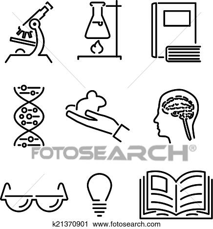 Clipart Of Modern Line Science Knowledge Study Icons And Symbols Set