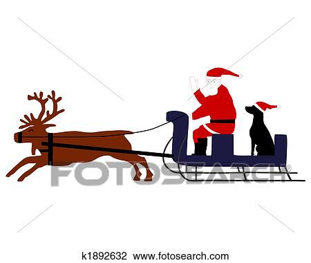 clip art of santa claus with santa dog in his reindeer sleigh