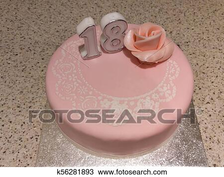 Surprising 18Th Birthday Cake Stock Image K56281893 Fotosearch Personalised Birthday Cards Veneteletsinfo