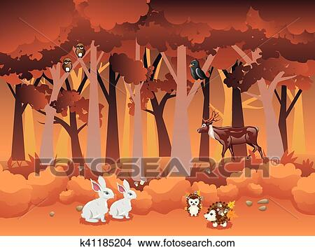 Cartone animato foresta autunno con animali clipart k41185204