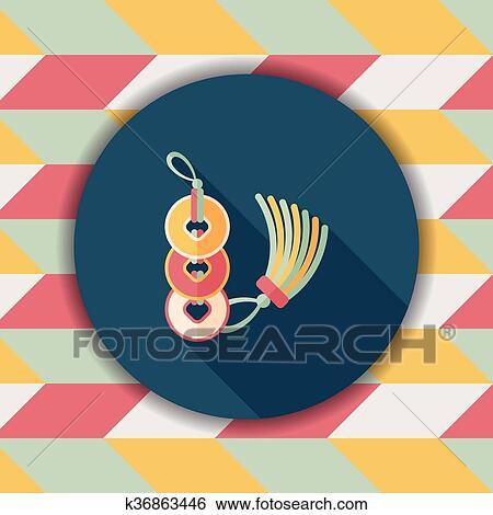 Clip Art - chinesisches neues jahr, flache, symbol, mit, langer ...