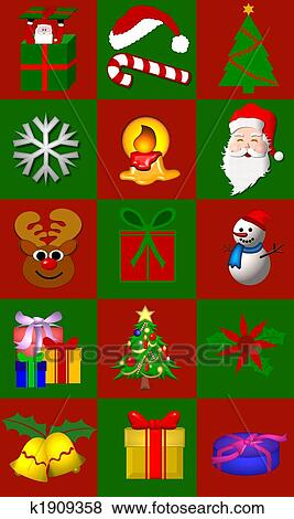 Stock Illustration Of Christmas Symbols Collage K1909358 Search