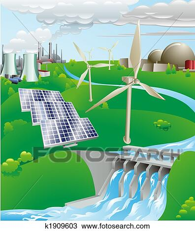 Electricity Power Generation Illustration Clipart