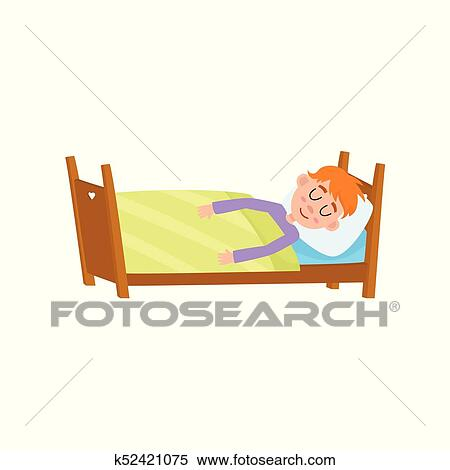 Clipart Funny Little Boy Sleeping Tight Asleep In His Bed Fotosearch Search