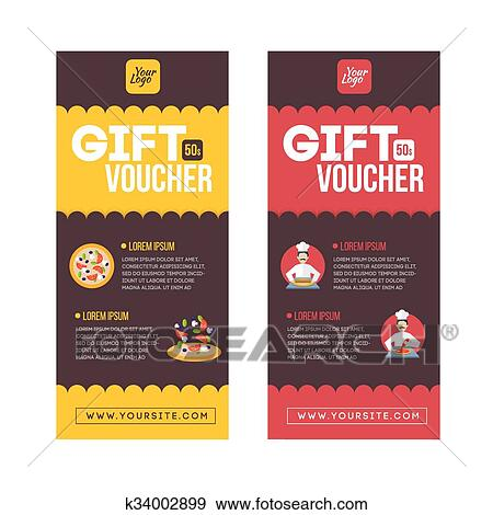 Clip Art Of Gift Voucher Template Set Two Gift Cards Design