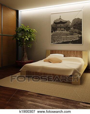 Japon, style, chambre à coucher, intérieur Banque d\'Illustrations