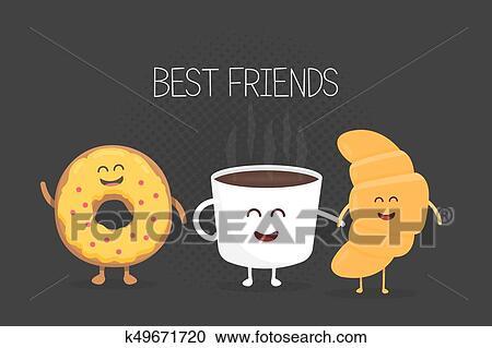Clipart Mejores Amigos Café Croissant Y Rosquilla Carácter