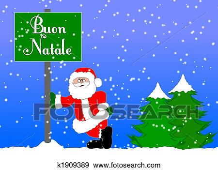 Merry Christmas In Italian.Merry Christmas Background Italian Stock Illustration