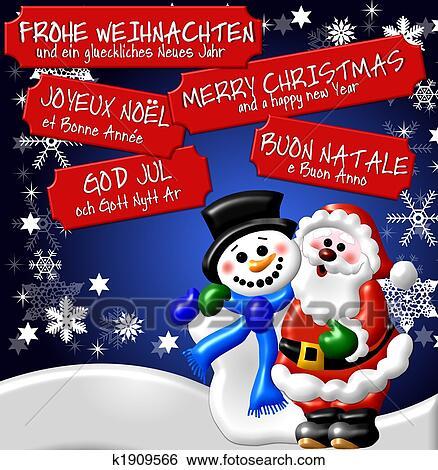 Weihnachtsbilder Merry Christmas.Multilingual Christmas Card Background Stock Illustration